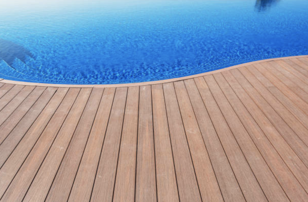 pool deck with composite decking material in in west palm beach FL